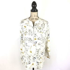 ANGVNS XL Shirt Floral White Yellow Textured